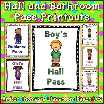 Hall and Bathroom Pass Printouts by Amber Thomas | Teachers Pay ...