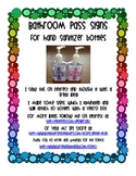 Bathroom Pass Signs for Hand Sanitizer Bottles