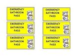 Bathroom Pass for Emergencies