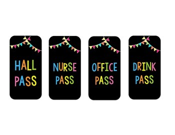 Student Passes | Bright Colors on Black