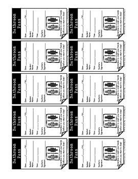 Bathroom Passes (Business Card Size)