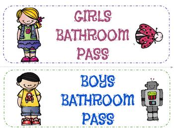 Bathroom Passes! FREEBIE