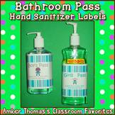 Bathroom Pass Hand Sanitizer Labels