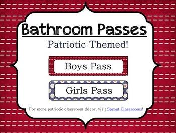 Bathroom Passes {Patriotic Theme}