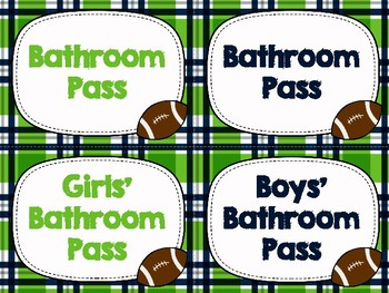 Bathroom Passes - Seahawk Themed