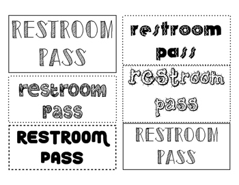 Bathroom Passes/Tickets