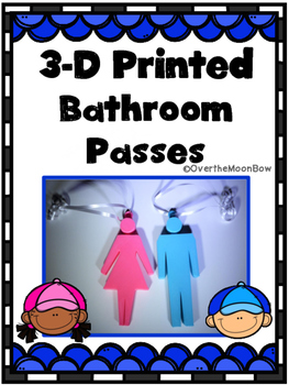 Bathroom Passes | Two 3-D Printed Plastic | Shipped to You