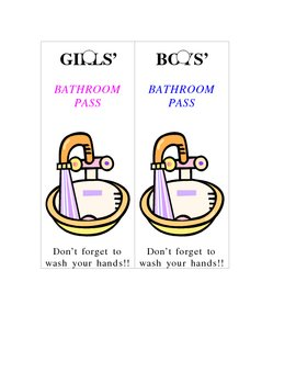 Bathroom Passes for Boys and Girls