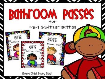 Bathroom Passes for Hand Sanitizer Bottles