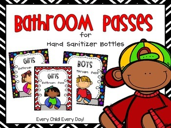 Bathroom Passes for Hand Sanitizer Bottles