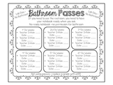Bathroom Passes for Interactive Notebooks