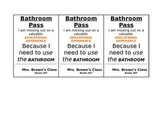 Bathroom Passes for Secondary Educators