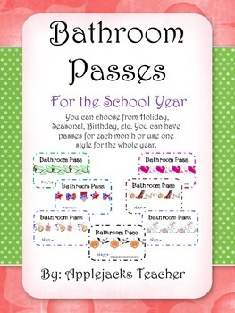 Bathroom Passes for the School Year