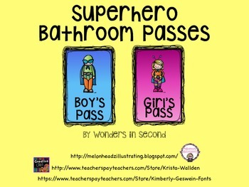 Bathroom Passess - Superhero Theme