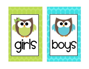 Bathroom Poster and Passes Owl Theme