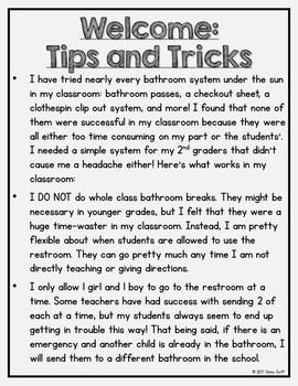 Bathroom Posters Classroom Management