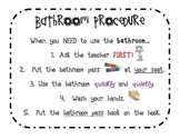 Bathroom Procedure Sign-Out Sheet