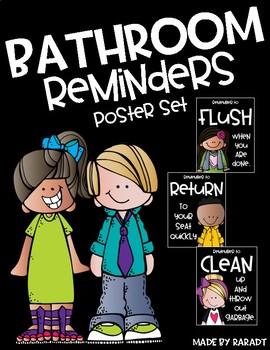 Bathroom Reminders Poster Set {Black Version}