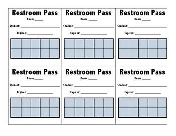 Bathroom/ Restroom Pass