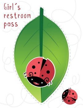 Bathroom / Restroom Passes - Bug Theme for First Week of School