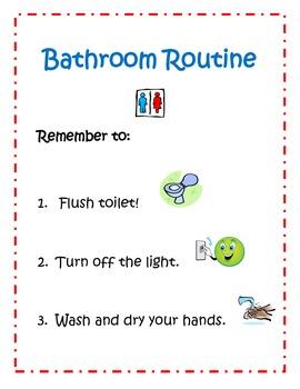 Bathroom Routine Sign