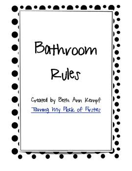 Bathroom Rules Black and White Polkadot