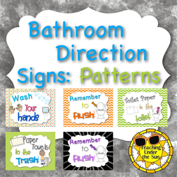 Bathroom Rules, Procedures Signs in Color Patterns and Chalk