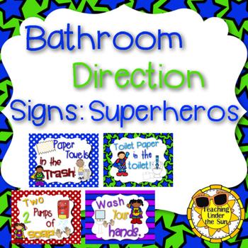 Bathroom Rules, Procedures Signs Superheros