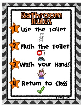 Bathroom Rules / Restroom Rules Poster with Pictures
