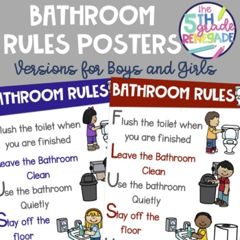Bathroom Rules Poster Boys And Girls Signs Included By