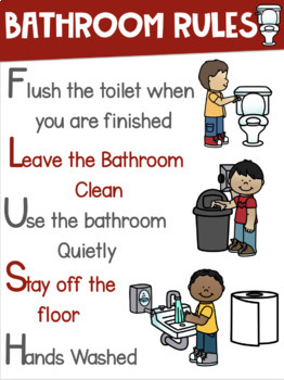 Bathroom Rules Poster ~BOYS and GIRLS signs included~