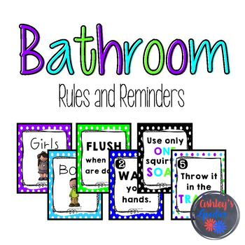 Bathroom Rules and Reminder Posters