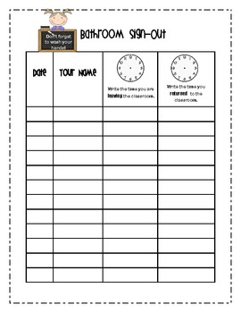 Bathroom Sign-Out Sheets