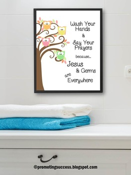 Owl Themed Poster, Bathroom Sign, Wash Your Hands Say Your Prayers