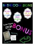 Bathroom Signs (Toilet Paper STOP Line) (Flush, Wash Hands, Turn Off Lights)