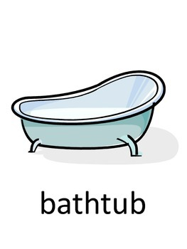 Bathroom Vocabulary + Sentences Flash Cards