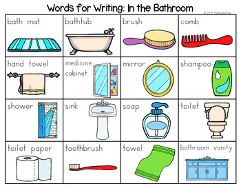 Bathroom Word List - Writing Center by The Kinder Kids | TpT