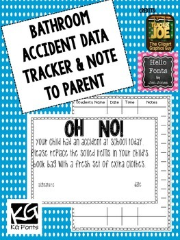 Bathroom accident data tracker and parent note