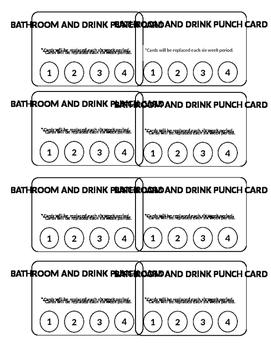 Bathroom and Drink Punch Card