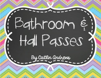 Bathroom and Hall Passes-Chalkboard Theme