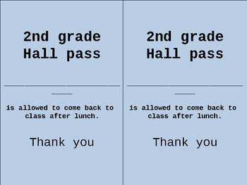 Bathroom and hall pass