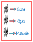 Bathroom behavior sign language spanish