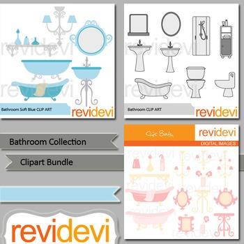 Bathroom collection clipart bundle (3 packs)