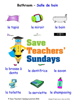 Bathroom in French Worksheets, Games, Activities and Flash Cards (with audio)