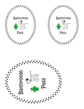 Bathroom pass labels for sanitizer bottles (dog theme)