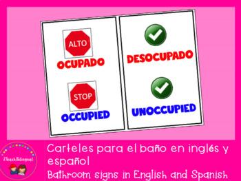 Bathroom signs in English and Spanish / Letrero bilingüe para el baño
