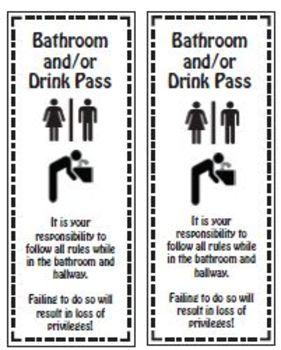 Bathroom/Drink Passes (4 passes per sheet)