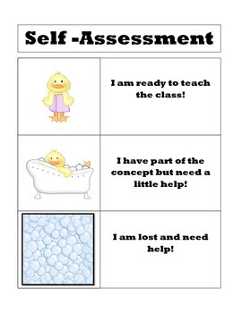 Bathtime Babies Student Self-Assessment Poster