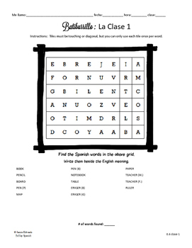 Batiburrillo Spanish Boggle Board :  La Clase (Classroom Objects)