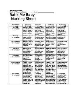 Batik Me Baby Marking Sheet
